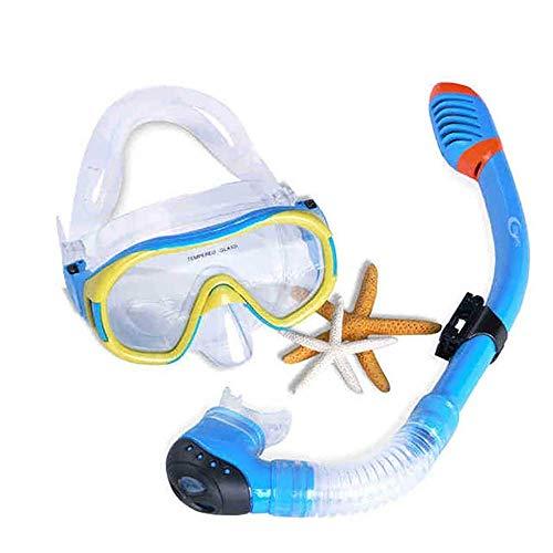Máscara de Snorkel Set Niños Conjunto del Tubo respirador seco Superior con Vistas al mar Snorkel Gafas Anti-Niebla Buceo Gafas de Equipo de Snorkel for Niños (Color: Azul, tamaño: un tamaño) Jzx-n