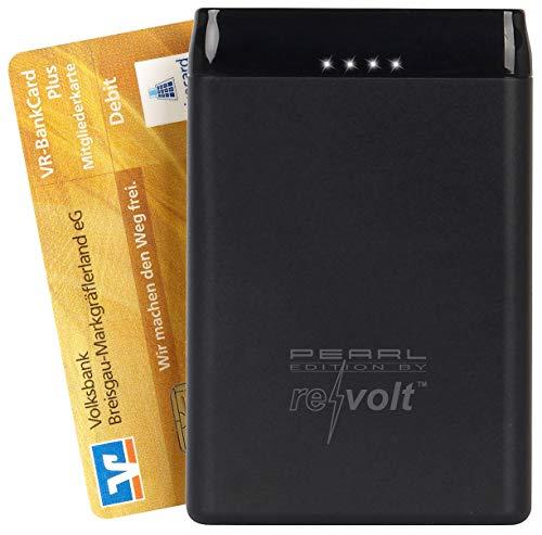 revolt Mini Powerbank: Powerbank im Kreditkarten-Format, 5.000 mAh, 2 USB-Ports, 2,4 A, 12 W (Powerbank Kreditkartenformat)
