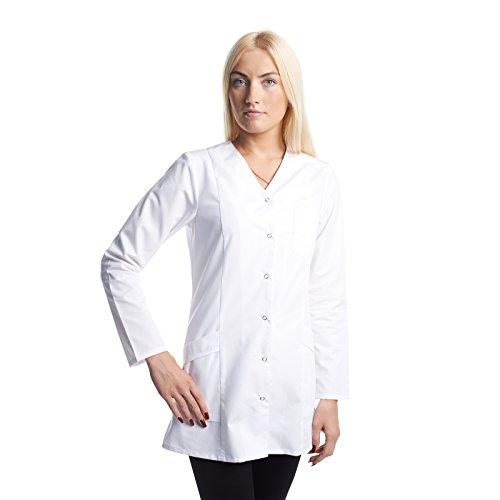 Arztkittel Weiß Damen -7 Weisser Laborkittel Größe (XS -3XL) - Labormantel Perfekt Als Labor, Chemie, Kosmetik, Berufsbekleidung Kittel - Am Besten Für Ärzte, Krankenschwester, Arzthelferin.