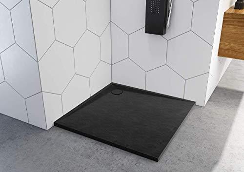 Duschtasse Schwarz Quadrat Rechteck Viertelkreis Stein-Effekt Duschwanne Black (90x90x3)