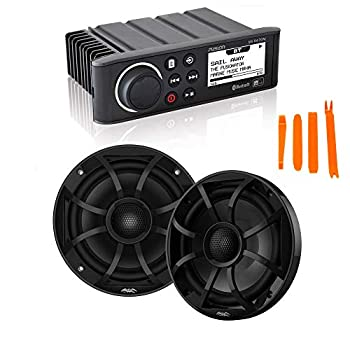 Fusion MS-RA70N Marine AM/FM/BT/NEMA2000 Stereo with 1 Pair Wet Sounds Recon 6-BG High Output 6.5  Marine Coaxial Speakers Black Grill