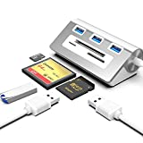 Hub USB3.0 y lector de tarjetas CF/SD/TF Combo adaptador USB A con 3 puertos USB3.0 y ranuras para lector de tarjetas CF/SD/TF para portátil/escritorio/tableta, compatible con Windows/Mac/Linux