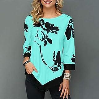 Lixada Fashion Women Floral Printed Blouse Plus Size 3/4 Sleeves Irregular Hemline O Neck Spring T-shirts Tees Casual Tops