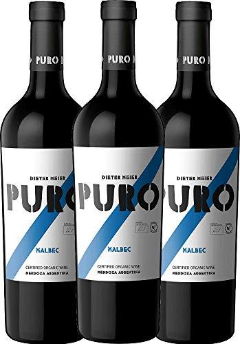 VINELLO 3er Weinpaket Rotwein - Puro Malbec 2019 - Dieter Meier mit VINELLO.weinausgießer   trockener Rotwein   argentinischer Biowein aus Mendoza   3 x 0,75 Liter