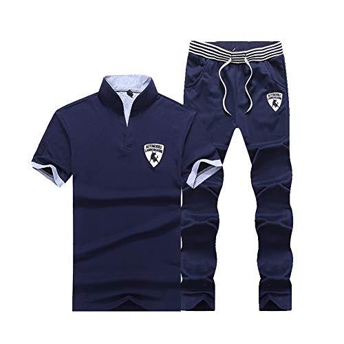 Herren T-Shirt Stehkragen Polo Hemd Sporthose Zweiteiliger Kurzarm Sportanzug Trainingsanzug Dunkelblau M