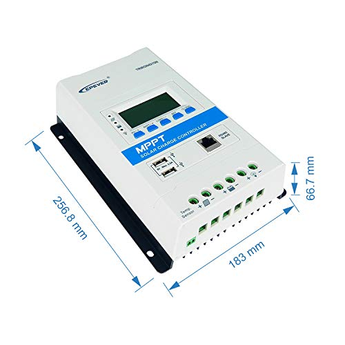 EPEVERMPPT Solar Charge Controller 40A, 12V/24V AutoTRIRON4215N Intelligent Modular-Designed Regulator with PC Software and Moblie APP [Updated Version of Tracer A/an Series] (TRIRON 4215N)