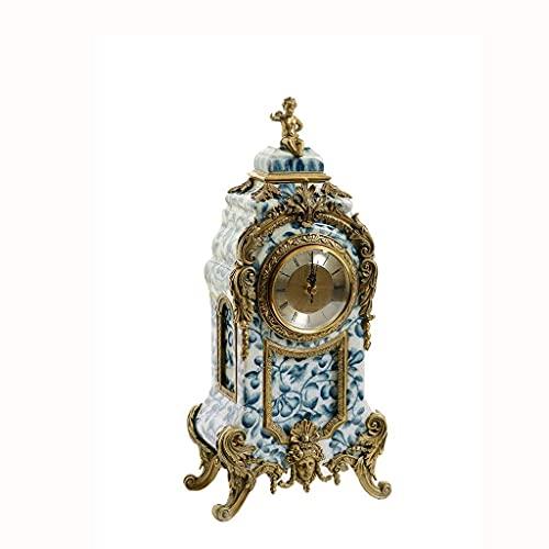 ZCZZ Reloj de Mesa, Reloj de Sala de Estar en casa, Reloj de atmósfera artística de Porcelana Azul y Blanca, Reloj de Mesa Artesanal