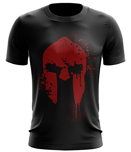 Stylotex ® Fitness T-Shirt Herren Sport Shirt | Spartan Helmet | Gym Tshirts für Performance beim Training | Männer Kurzarm | Funktionelle Sport Bekleidung, Größe:L, Farbe:schwarz
