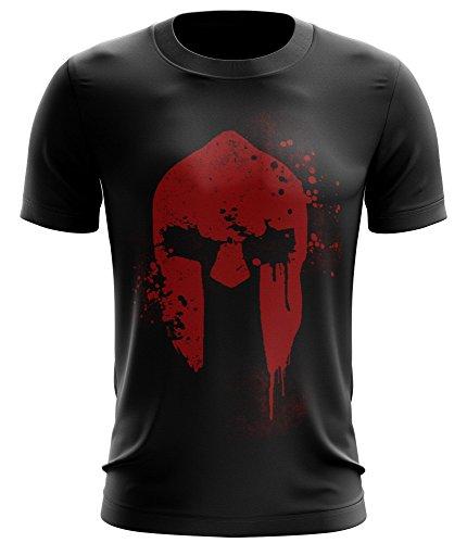 Stylotex ® Fitness T-Shirt Herren Sport Shirt | Spartan Helmet | Gym Tshirts für Performance beim Training | Männer Kurzarm | Funktionelle Sport Bekleidung, Größe:XL, Farbe:schwarz
