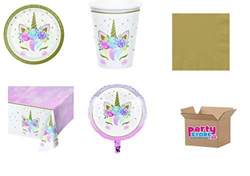 Casa dolce casa - Kit n° 10 - Set de décoration de table, doré, licorne pour anniversaire événements fête - (16 assiettes, 16 gobelets, 16 serviettes, 1 nappe, 1 ballon aluminium)