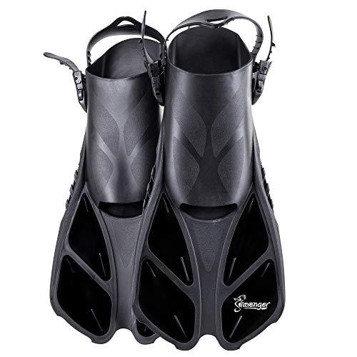 Seavenger Torpedo Snorkeling Fins for Travel (Black, L/XL)