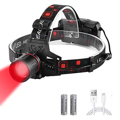 Linterna Frontal Roja, WESLITE Linterna Frontal LED Recargable Luz Roja para Caza Linterna Frontal LED Alta Potencia Roja con Zoom para Caza, Astronomía, Observación de Estrellas, Visión Nocturna