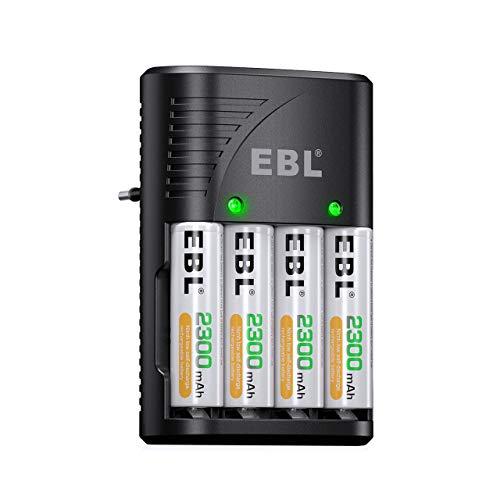 EBL Cargador Plug con Pilas Recargables 4 X AA 2300mAh Ni-MH, Cargador Rápido de Pilas para AA AAA 9V Ni-MH, Indicadora LED, AC 100-240 V
