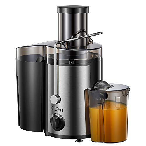 """Juicer Machine, Centrifugal Juicer Extractor with Wide Mouth 3"""" Feed Chute for Fruit Vegetable, Easy to Clean, Stainless Steel, BPA-free, by QCen"""
