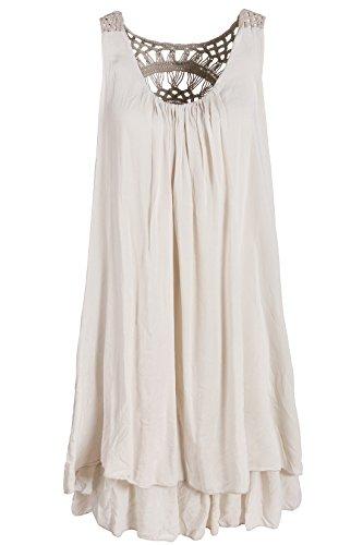 Italienische Mode Sommerkleid mit Spitze am Rücken Tunikakleid Knielang Beige 38+40