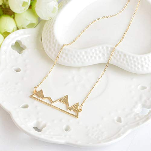 Idiytip Personalised Elegant Female Necklace with Hollow Mountain Peaks Jewellery Gifts for Women Necklace,Golden