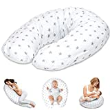 Almohada Embarazada y Cojin Lactancia - Cojín Embarazo Maternidad Dormir y Cojines Nido Bebe Grande Blanco