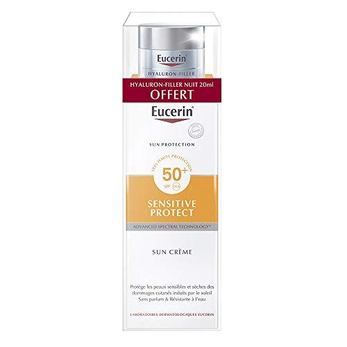 Eucerin Sun Protection Sensitive Protect Sun Crème SPF50+ 50 ml + Hyaluron-Filler Soin de Nuit 20 ml Offert
