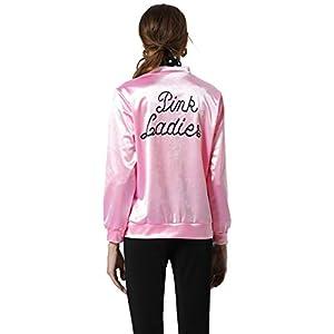 Nofonda Grease Chaqueta de Pink satén Disfraz de Lady Danny ...