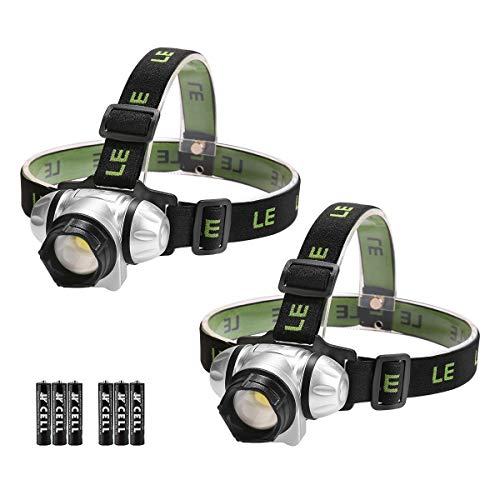 LEDヘッドライト 高輝度 ヘッドランプ 電池式 2個セット 白光&赤色 ledライト 【明るさ140ルーメン/ 照射距離約100メートル/照射角度調整可/防水仕様/小型軽量】 単4電池付き 釣り 登山 キャンプ 散歩 アウトドア 災害 停電用