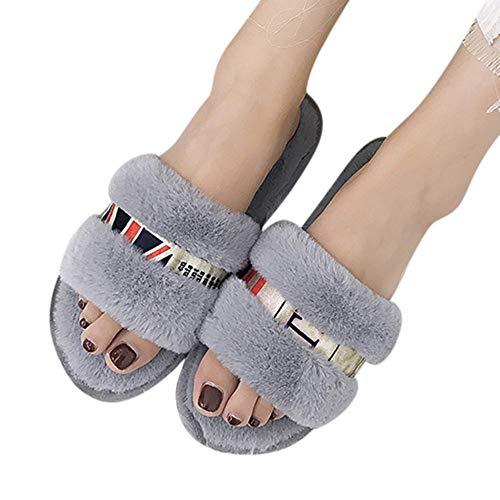HIUGHJ Zapatillas de Mujer Zapatos Planos de Invierno Zapatillas de casa Divertidas...