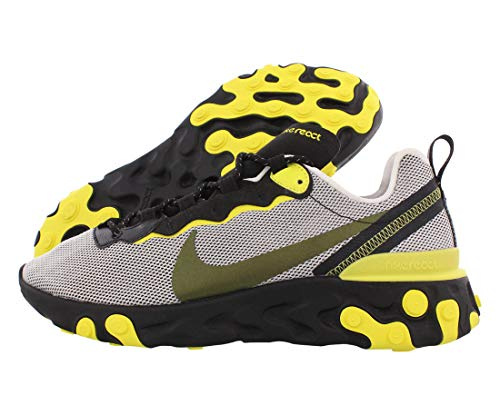 Nike Mens React Element 55 Running Shoes (9.5, Pure Platinum/Black)