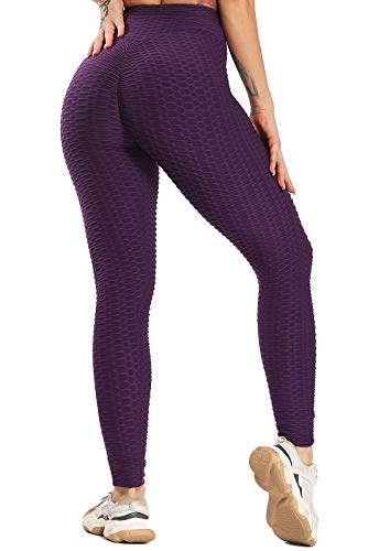 FITTOO Leggings Push Up Mujer Mallas Pantalones Deportivos Alta Cintura Elásticos Yoga Fitness Morado XS