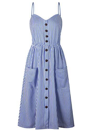 OMZIN Damen Kleid Vintage Kleid mit Spitze Strand T-Shirt Kleid Strand Lascana Kleid Tunikakleid Schwangerschaft Kleid Dunkelblau XL