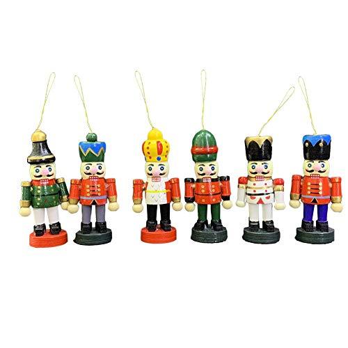 2020 Weihnachten Holz Nussknacker Soldat, 6 Stück Nussknacker Hängende Ornament Figuren, Mini Holzsoldat Nussknacker Puppe Partyzubehör Für Heimtextilien Weihnachtsgeschenk