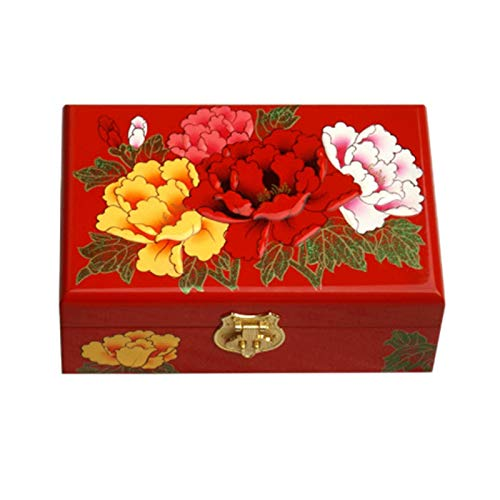GAONAN Caja de joyería Vintage Caja de colección Decorativa Rectangular Caja de joyería de Las Mujeres, Adecuado para el Anillo y Pulsera del Collar del Pendiente Caja de Almacenamiento de Joyas