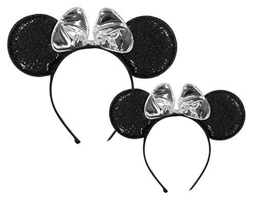 Disney Little Minnie Mouse Headband Set of 2 for Mommy, Matching Ears adult Size and one for Girls ages 2-7, Silver