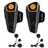 Fodsports BT-S2 Casco de Motocicleta con micrófono Impermeable Bluetooth Sistema de comunicación con 1000 m, GPS, Radio FM, MP3, dúplex Completo, 2-3 Rider (2 Paquete con Auriculares de Cable Suave)