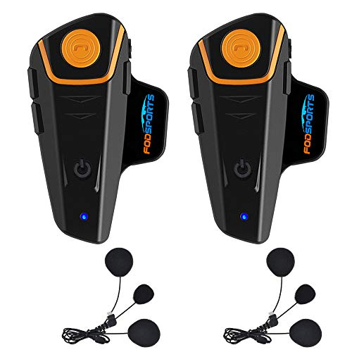 Fodsports BT-S2 Casque de Moto Intercom Casque interphone Système de Communication Bluetooth étanche avec 1000 m, GPS, Radio FM, Lecteur MP3, Full Duplex, Main Libre (2 Packs Soft Cable headsets)