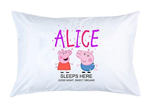 Personalizada para niños Peppa Pig (tu Nombre) Funda de Almohada Present