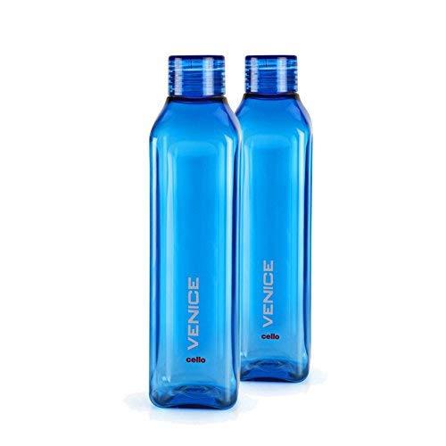 Cello Venice Plastic Water Bottle, 1 Litre, Set of 2, Blue