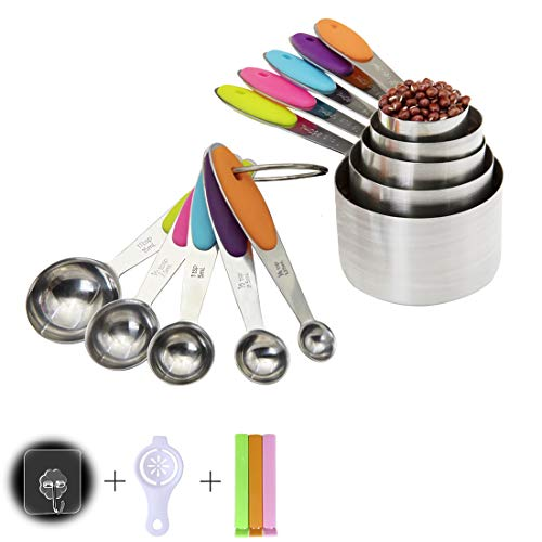 Stainless Steel Cooking Measuring Cups and Spoons Tool Set of 10 Pieces ,for Cooking/Liquid Measuring Equipment/Kitchenaid/Baking Measurement set