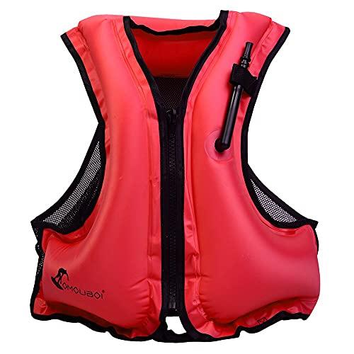 Chaleco flotador ayuda a la flotación Chaquetas salvavidas para adultos Niños Chaqueta de seguridad inflable Natación Chalecos salvavidas Chalecos de buceo para canotar kayak boating Snorkeling (rojo)