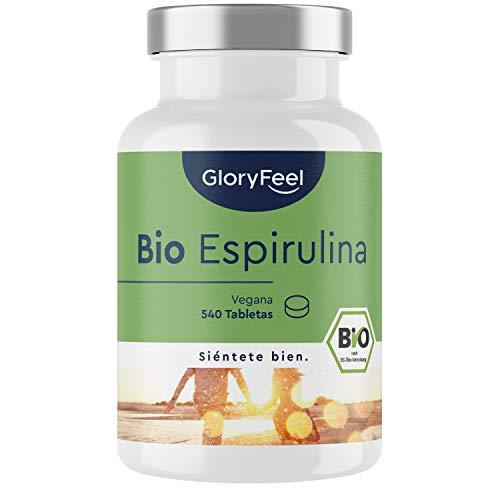 Espirulina Ecológica 3000mg - 540 Comprimidos veganos de 100% Bio Spirulina - Alta Dosis en Ficocianina 26% - Energía, Detox, Fuerza y Efecto de Saciedad - Certificación ecológica oficial