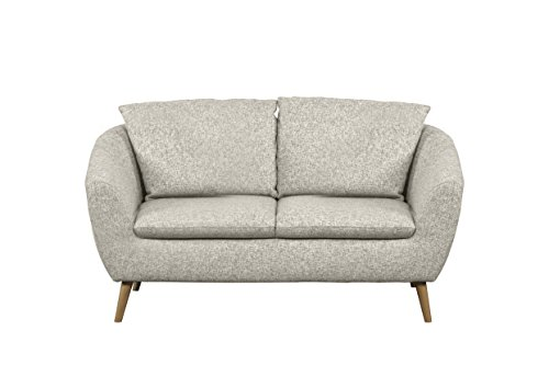 Cavadore 2-Sitzer Sofa Flira mit Rückenkissen, Schaumstoff, beige/weiß, 159 x 89 x 78 cm