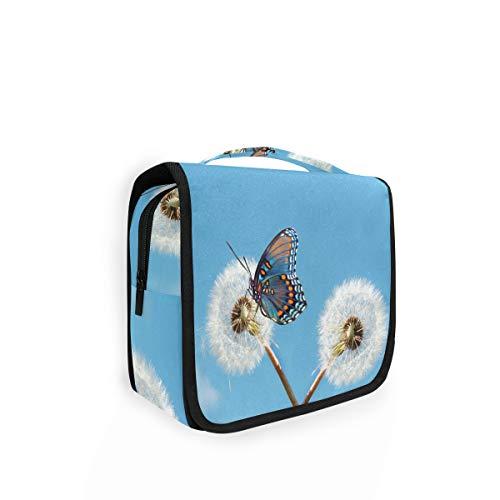 Grande trousse de toilette à suspendre - Motif papillon, animal et pissenlit - Pour femme et enfant