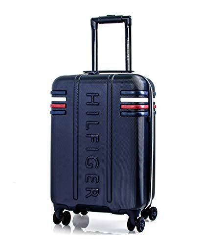 Tommy Hilfiger London Expandable Hardside Luggage with TSA Lock, Navy, 20 Inch