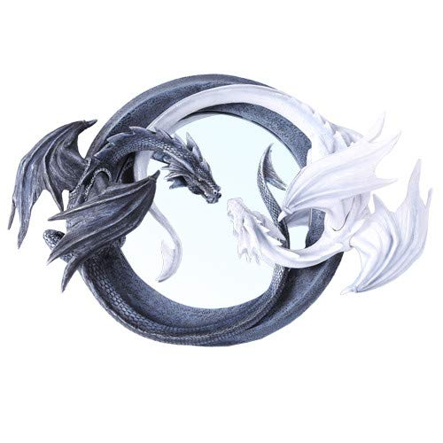 Pacific Giftware Chinese Feng Shui Ying Yang Day Night Twin Nemesis Dragon Round Wall Mirror Plaque Decor