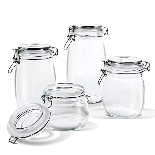Glass Storage Jars with Airtight Hinged Lid Leak Proof Gasket Clear Canister for Oats Canning Cereal Pasta Sugar Coffee Nuts Spices Set of 4 Food Preserve Container Jars(15 PCS Food Storage Bags Included)