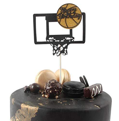 "Tortentopper Basketballkorb ""Happy Brithday"", Glitzer, 1. Geburtstag, Cupcake-Topper, Kerzenalternative, Handarbeit"