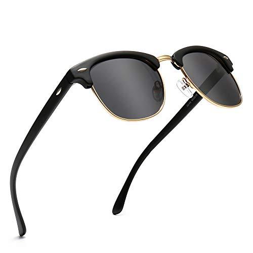 SUNGAIT Ronda Retro Semi Montura Gafas de Sol Polarizadas UV Protección para Hombres/Mujeres(Marco Negro (Acabado Mate) / Lente Polarizada)