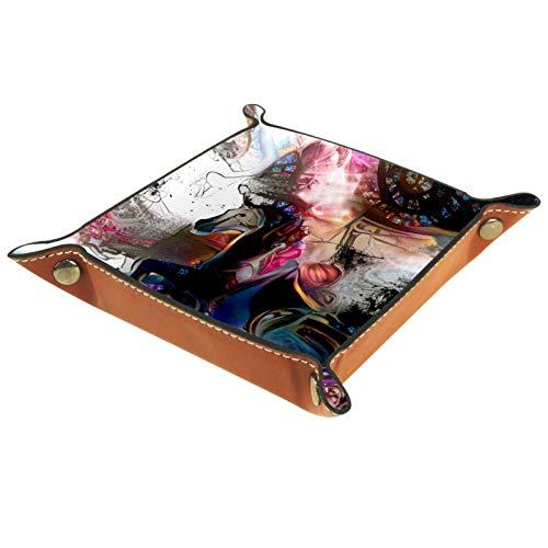 YATELI Caja de Almacenamiento pequeña, Bandeja de Valet para Hombre,Arte Fantasía Patio de recreo Unicornio Abstracto,Organizador de Cuero para Llaves de Caja de Monedas