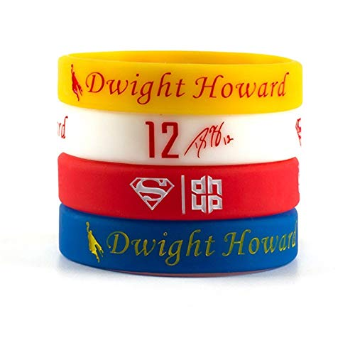 Xi-Link Silicone Bracelet, Basketball Star Series Bracelet, Star DWight Howard 12th Personality Sign Bracelet Basketball Wristband Silicone Bracelet Jewelry (Color : 4-piece set, Size : 170mm)