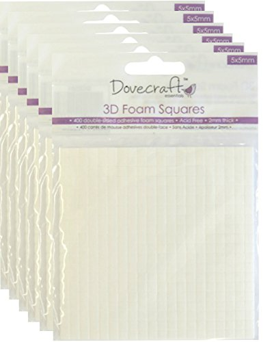Dovecraft 3D Foam Squares, 6 X packs 5x5mm, double sided adhesive, sticky pads for cardmaking and decoupage