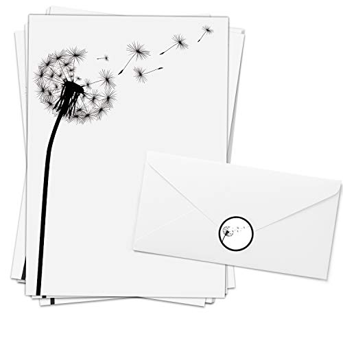 20 Blatt Trauerpapier im Set/Stilvoll/Pusteblume/Briefpapier mit 20 Umschlägen und 20 passenden Etiketten/Trauerbrief