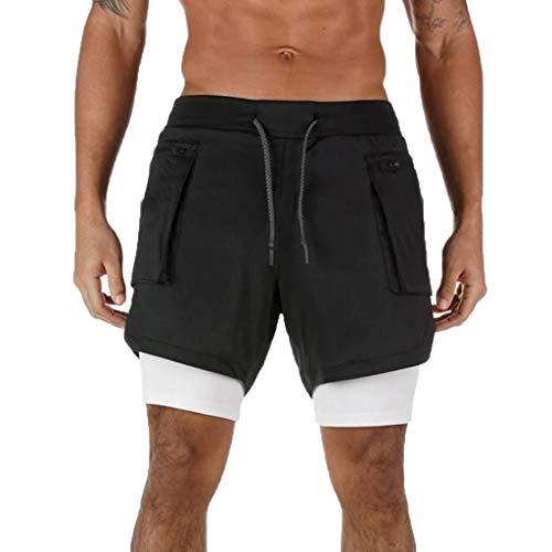 Btruely Shorts Herren 2 in 1 Trainingsshorts Sommer Kurze Hose Männer Schnelltrocknende Laufshorts Fitness Joggen und Training Sporthose mit Tasch